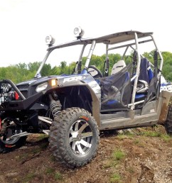 2012 polaris rzr4 le blue front left parked  [ 1280 x 960 Pixel ]
