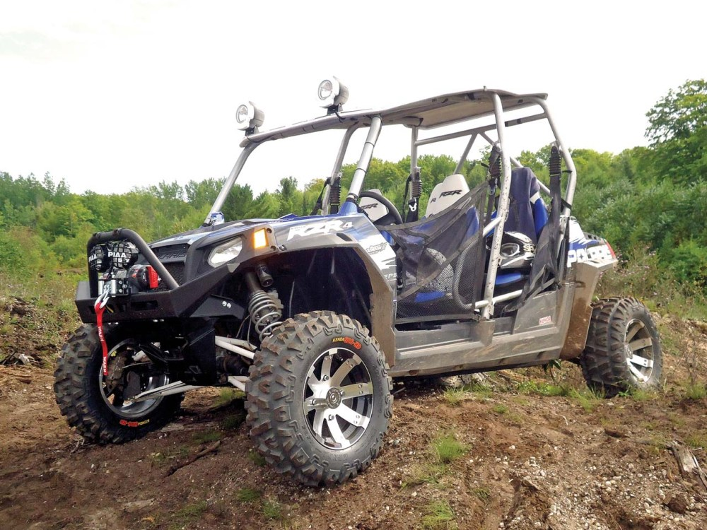 medium resolution of 2012 polaris rzr4 le blue front left parked
