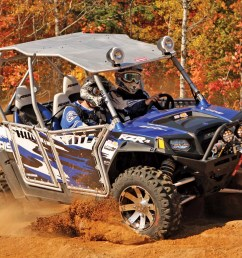 2012 polaris rzr4 le blue front right riding  [ 1280 x 960 Pixel ]