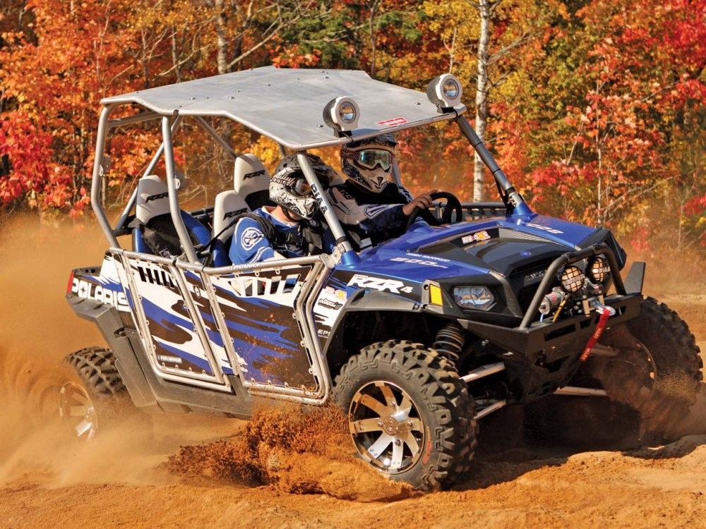 medium resolution of 2012 polaris rzr4 le blue front right riding