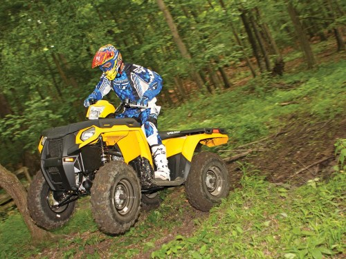 small resolution of 2012 polaris sportsman500ho yellow front left jumping in