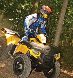2012 polaris sportsman500ho yellow front right riding through  [ 960 x 1280 Pixel ]