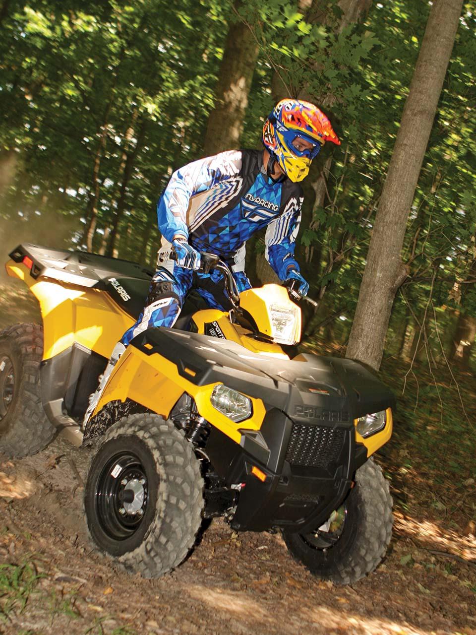 medium resolution of 2012 polaris sportsman500ho yellow front right riding through
