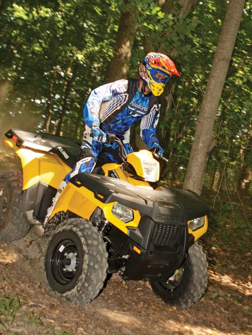 small resolution of 2012 polaris sportsman500ho yellow front right riding through
