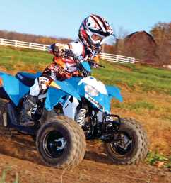 2014 polaris outlaw90 front right blue riding on  [ 1280 x 960 Pixel ]