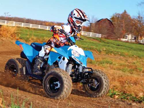 small resolution of 2014 polaris outlaw90 front right blue riding on