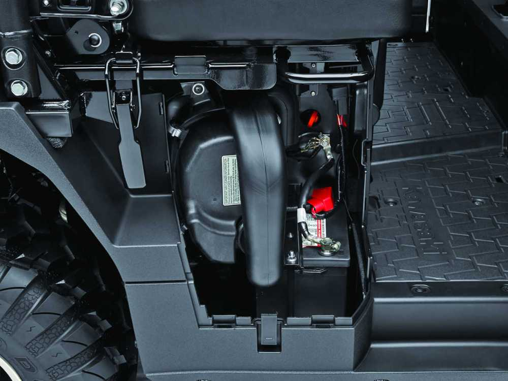 medium resolution of we like how kawasaki considered maintenance tasks with the mule pro fxt air filter and battery access is just behind this easy opening side panel