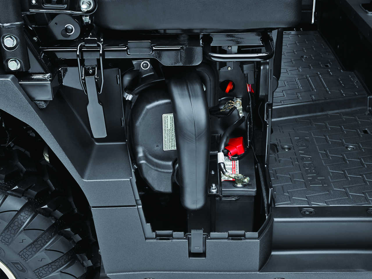 hight resolution of we like how kawasaki considered maintenance tasks with the mule pro fxt air filter and battery access is just behind this easy opening side panel