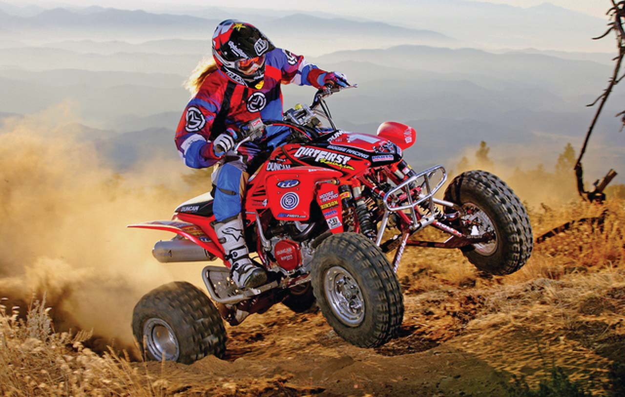 hight resolution of 2016 honda trx450r red front right riding on
