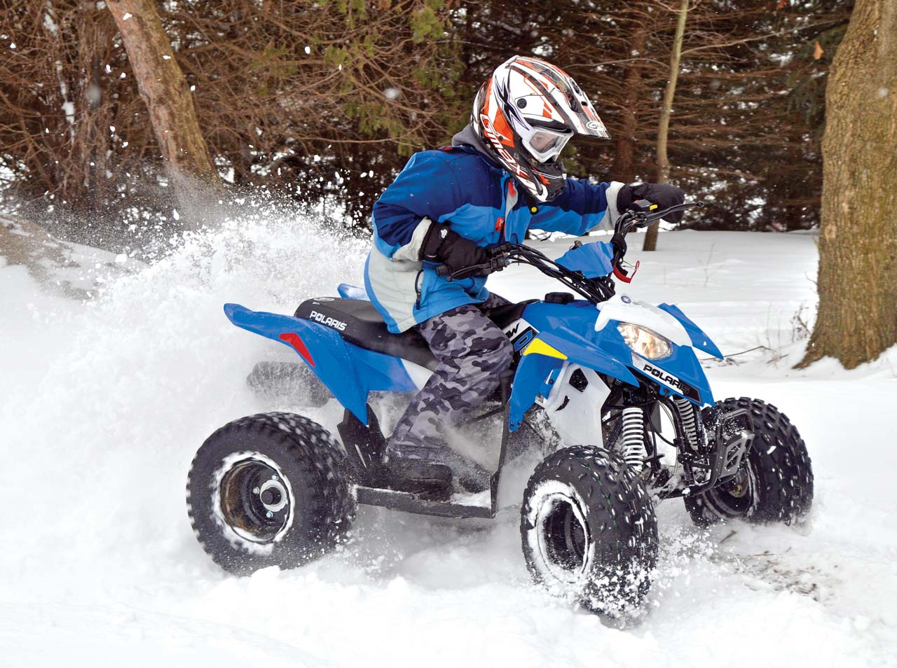 hight resolution of 2017 polaris outlaw110 front right blue riding in