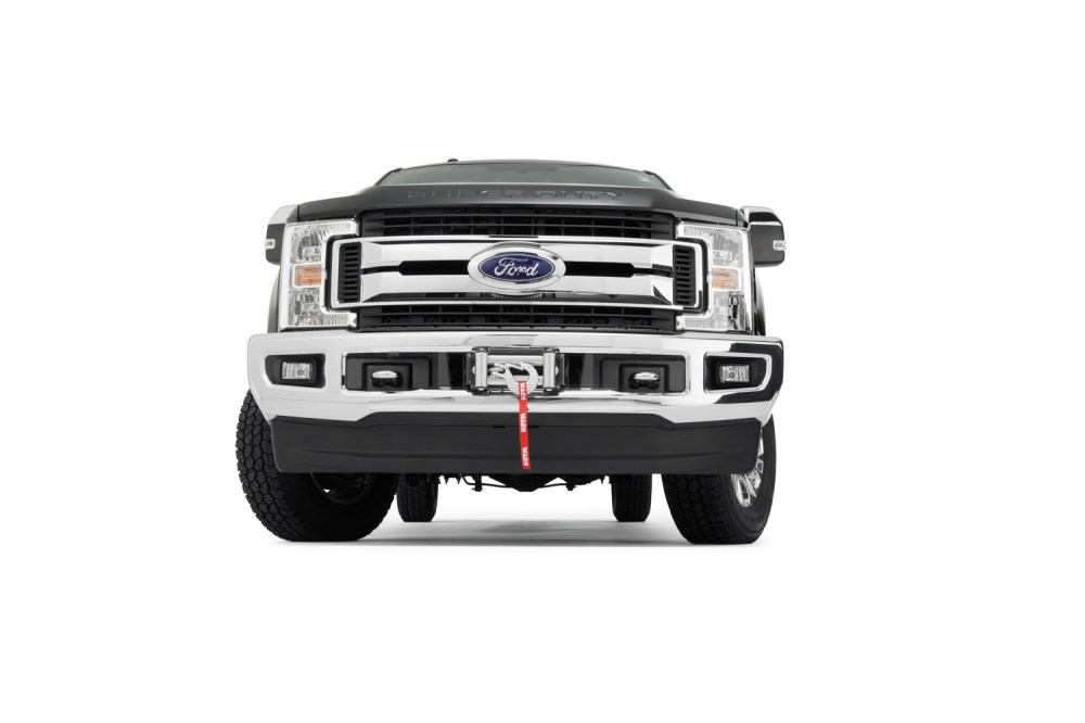 medium resolution of the super duty hidden kit retains the factory front bumper even with the winch installed the mount will accommodate warn heavy weight winches m12 m12 s