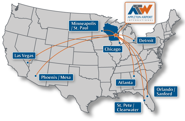 Route Map Appleton International Airport ATW