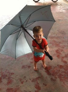 Asher ready for the downpours of rainy season