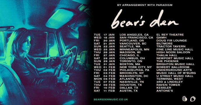 Bear's Den 2017 tour poster