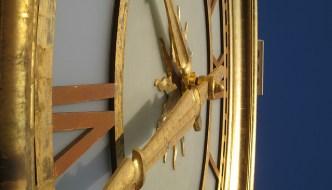 Close-up of clock hands