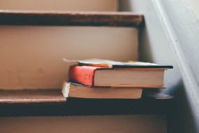 books on staircase