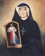 St Faustina Holding Divine Mercy Image