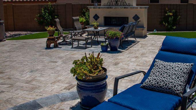 Travertine patio installation