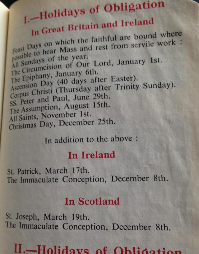 I think the Irish only had two days of obligation because they wre always at Mass anyway!