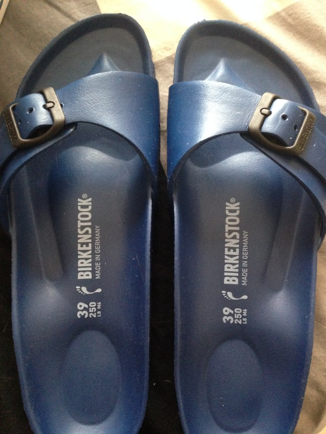 My first ever pair of Birkenstocks. Am I becoming a Hippie in my old age.