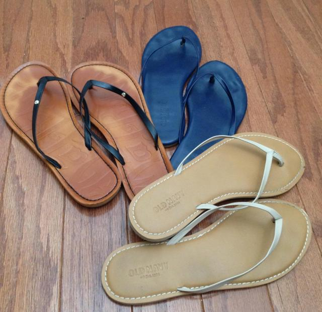 My three musketeers of flip flops. Just a bit fancier.