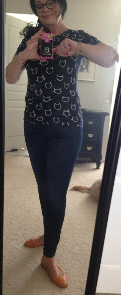 OOTD Sunday. I'm not a fan of cats but I like this shirt. Gap Skinnies and orangyellow Repettos