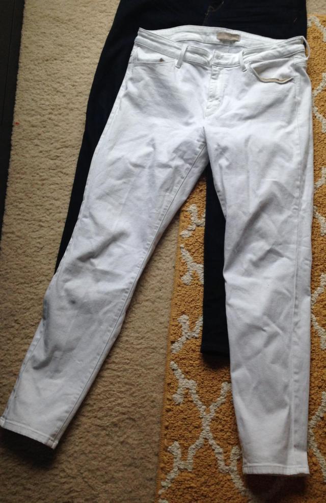 White Uniqlo skinnies