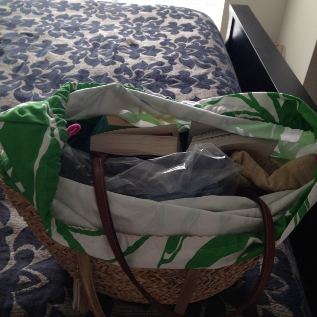 Straw bag. Emergency clothes, books, sun hat, longchamp bag, camera, phone, chargers