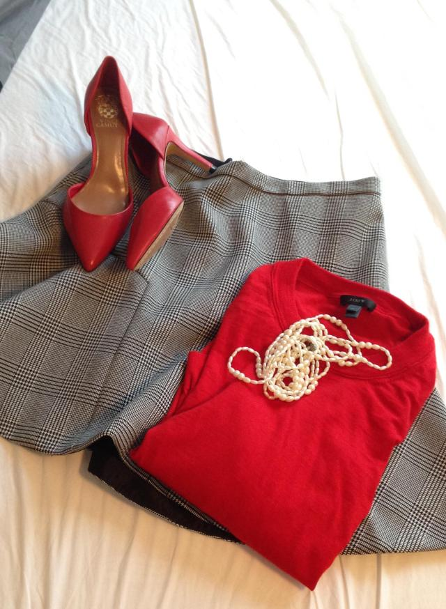 Bblack plaid J. Crew skirt Red Tippi number 2 photo