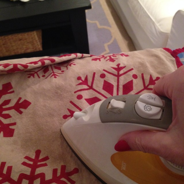 ironing the tree skirt