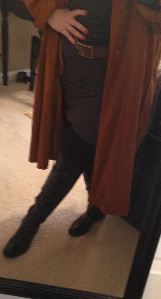 Mini tights boots belt long coat.