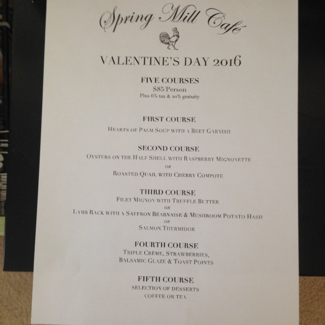 Spring Mill Cafe Menu