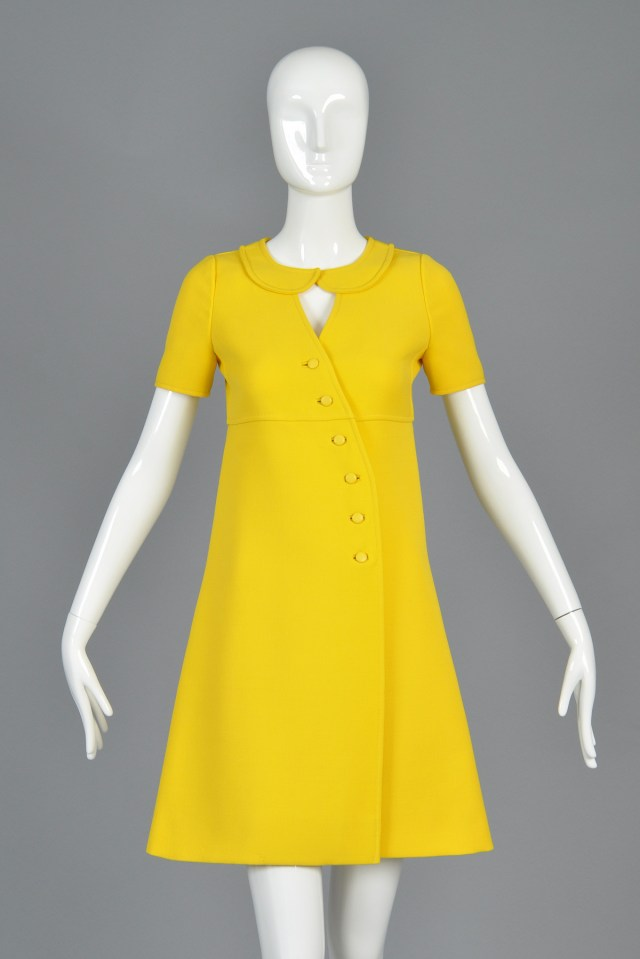 bustown-modern-vintage-courreges-yellow-couture-future-button-front-dress-002
