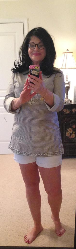 White Shorts Tory Burch tunic