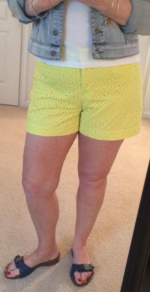 yellow shorts denim jacket