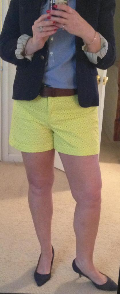 Yellow shorts dressed up