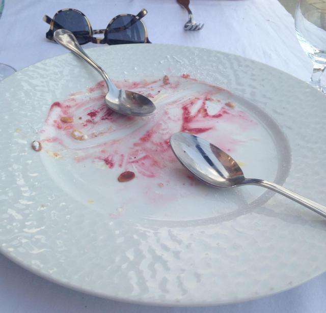 Cannes. Gaston. Ate the entire dessert. Empty plate club
