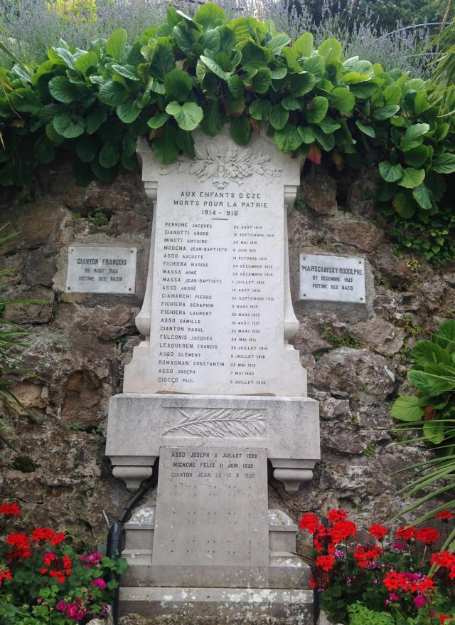 Eze memorial for those killed by the Nazis.