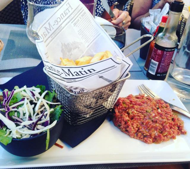 Food. St. Raphael. LA factory. Steak Tartare. Frites. Salad. Yum.