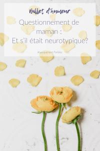 Qu'est-ce qui arrive quand on a deux enfants vivant déjà avec des diagnostics particuliers et qu'un troisième arrive? Et si lui défiait les statistiques familiales et était neurotypique? Et si c'était ça sa différence à lui? #billetdhumeur #besoinsparticuliers #etremere #etremaman #neurotypique