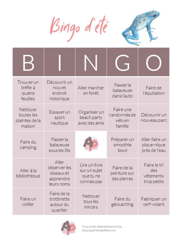 Bingo d'été - Carte 2 Parce que pour divertir les enfants, il faut souvent prendre des moyens créatifs. #pasdecampdejour