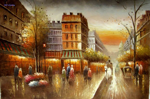 Oil Paintings City Streets Reproduction
