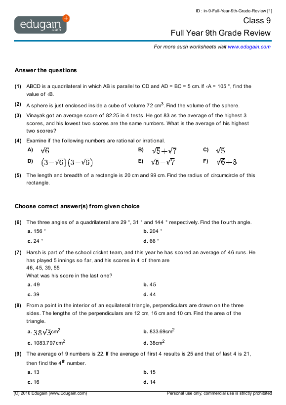 Year 9 Math Worksheets And Problems Full Year 9th Grade
