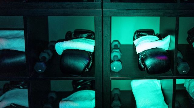 Gym shelves with boxing gloves and weights