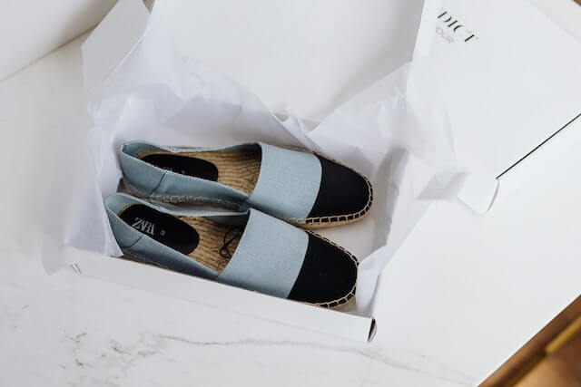 Shoes in a box sitting on a table
