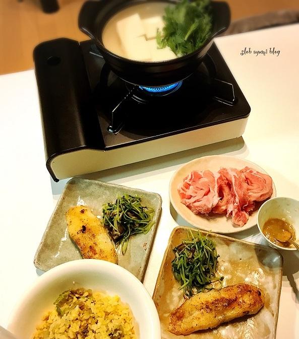 カレイのムニエルと柚子胡椒味噌の湯豆腐の献立レシピ