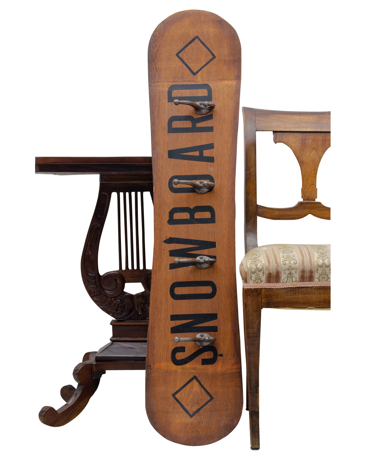 Garderobe Antik Holz Snowboard Wardrobe Rack With Hooks Clothes Hook Decoration Iron Antique Style | Aubaho ®