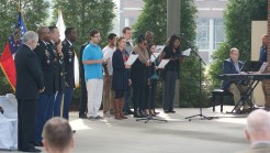 The Augusta University Chorus perform the Armed Forces Medley, which was accompanied by Kevin Pollock. (Photo: Jamie Sapp)