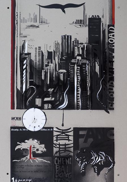 Jour de congé - N°2 - Techniques mixtes sur carton - Peinture de Michelle Auboiron d'après une nouvelle de Chantal Pelletier