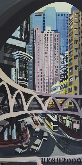 Peinture de Causeway Bay - Hong Kong par Michelle Auboiron